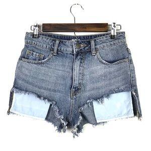BDG High Rise Lou Hi-Low Shortie Jean Shorts
